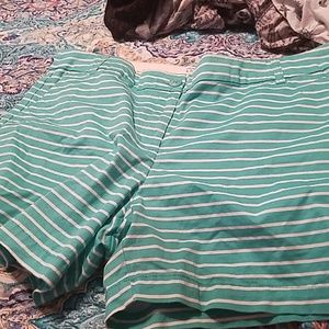 crown&ivy size 16 white and green striped shorts